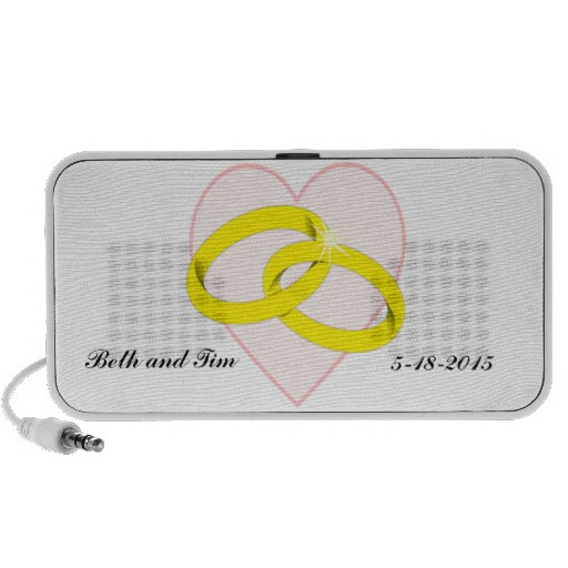 Intertwined Wedding Rings & Heart Laptop Speaker