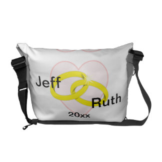 Intertwined Wedding Rings Messenger Bags