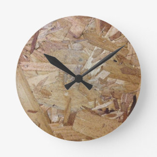 Interweaving particle board round clock