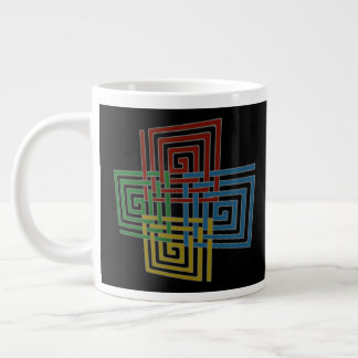 Interwoven Spiral Squares Large Coffee Mug