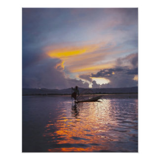 Intha fisherman leg rowing boat fishing with net poster
