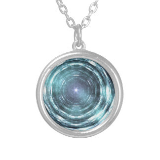 Into the black hole silver plated necklace