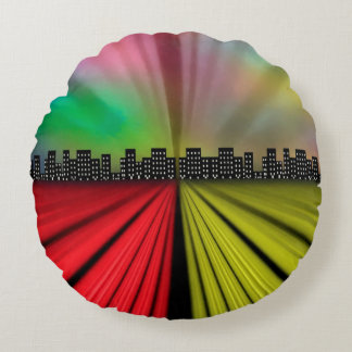 Into the City at Night Round Cushion