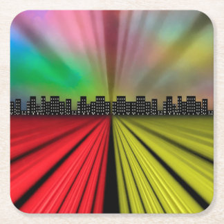 Into the City at Night Square Paper Coaster