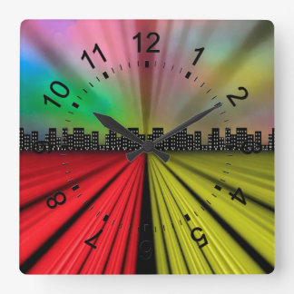 Into the City at Night Square Wall Clock