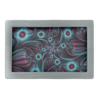 Into the Depth Blue Pink Abstract Fractal Art Rectangular Belt Buckles
