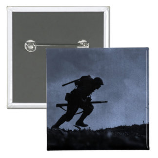Into the Night a Soldier on the Battlefield 15 Cm Square Badge