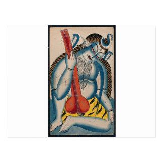 Intoxicated Shiva Holding Lamb Postcard