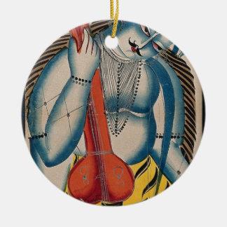Intoxicated Shiva Holding Lamb Round Ceramic Decoration
