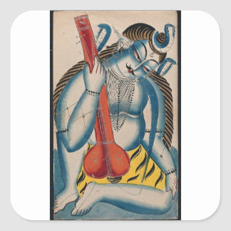 Intoxicated Shiva Holding Lamb Square Sticker