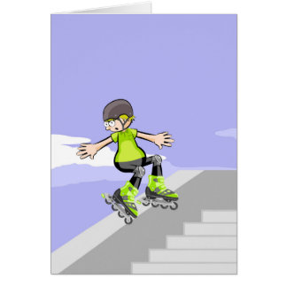 Intrepid skate on wheels young lowering a wall card