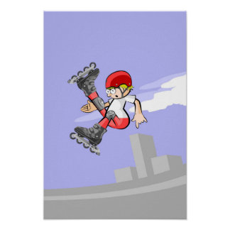 Intrepid skate on wheels young making pirouette poster