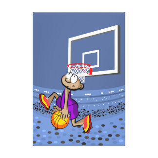 Intrepid young basketball jumping with the ball canvas print