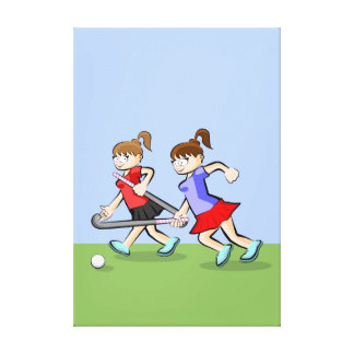 Intrepid young hockey obtains the ball canvas print