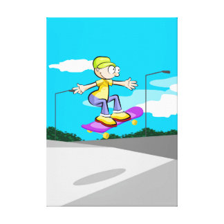 Intrepid young Skateboard flying by the air Canvas Print