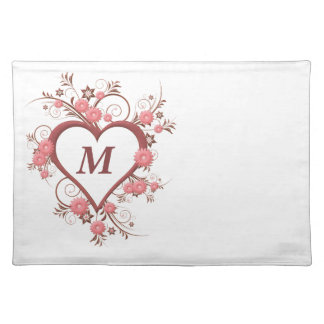 Intricate Art Deco Heart and Flowers, Monogrammed Placemat
