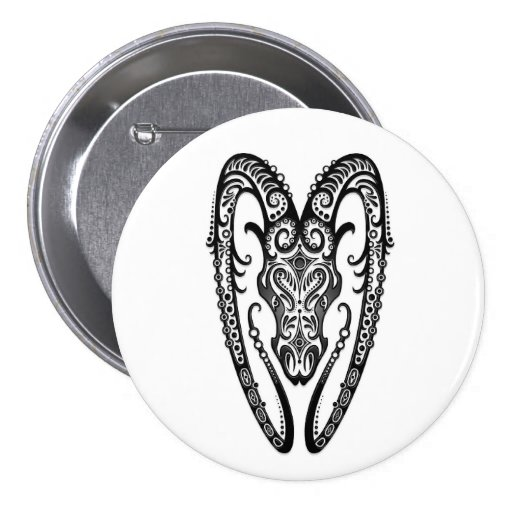 Intricate Black Aries Zodiac on White Buttons