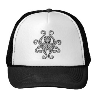 Intricate Black Octopus Trucker Hat