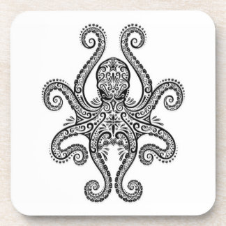 Intricate Black Octopus on White Coaster