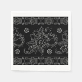 INTRICATE BLACK PATTERN SWIRL NAPKIN DESIGN DISPOSABLE SERVIETTES