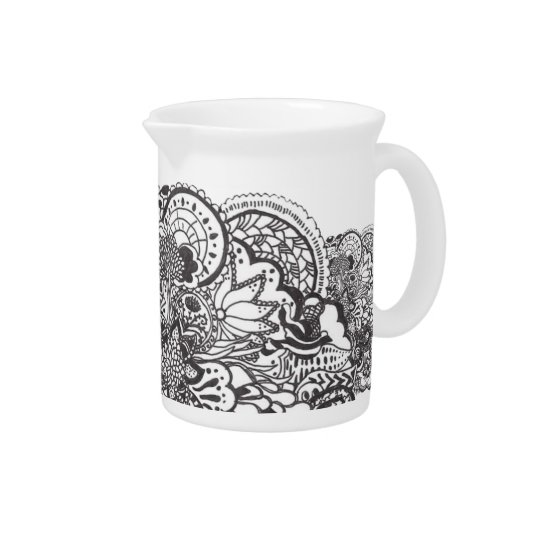 Intricate black pen and ink art pitcher
