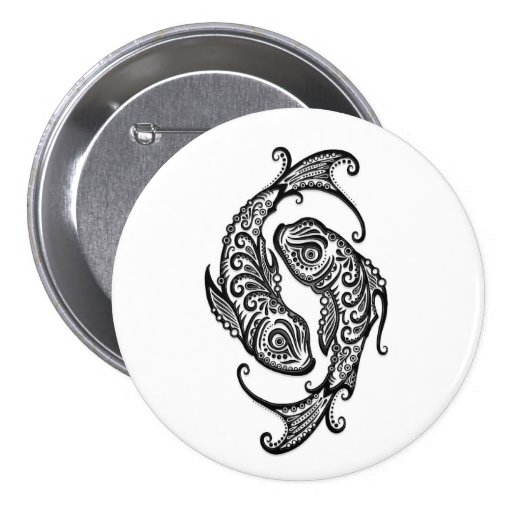 Intricate Black Pisces Zodiac on White Buttons