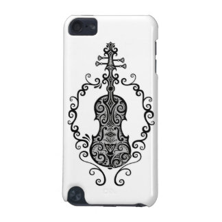 Intricate Black Violin Design on White iPod Touch 5G Cover