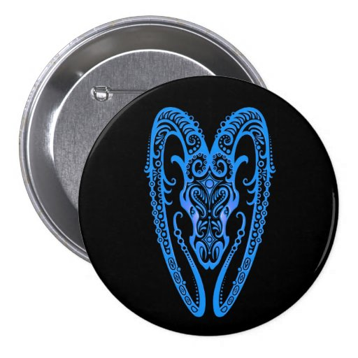 Intricate Blue Aries Zodiac on Black Buttons