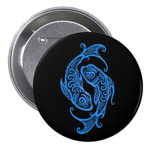 Intricate Blue Pisces Zodiac on Black Buttons