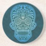 Intricate Blue Sugar Skull Coasters