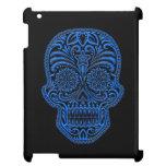 Intricate Blue Sugar Skull on Black