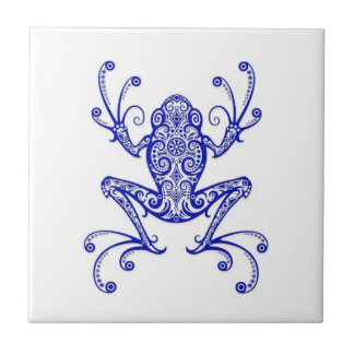 Intricate Blue Tree Frog on White Small Square Tile