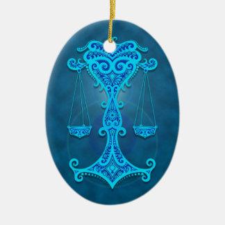 Intricate Blue Tribal Libra Ornament