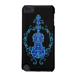 Intricate Blue Violin Design on Black iPod Touch (5th Generation) Case