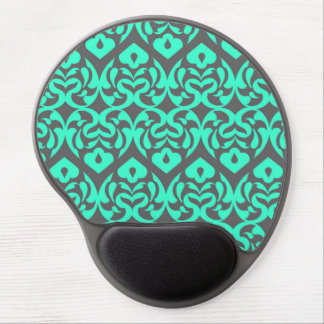 Intricate Bright Teal Heart Pattern Against Gray Gel Mouse Mat