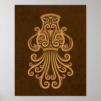 Intricate Brown Aquarius Zodiac Poster