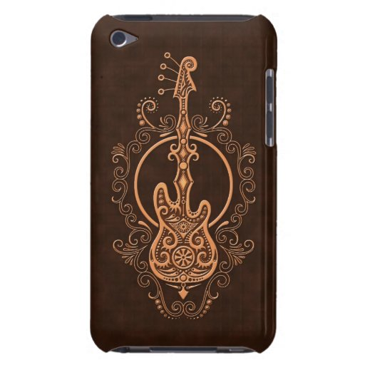 Intricate Brown Bass Guitar Design iPod Touch Cases