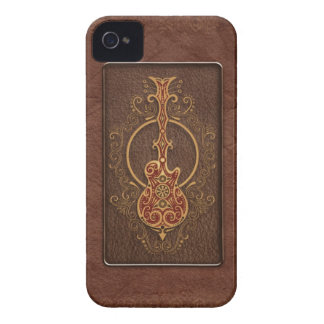Intricate Brown Leather Guitar iPhone 4 Case-Mate Cases