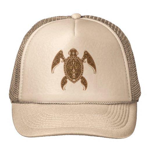 Intricate Brown Sea Turtle Mesh Hats