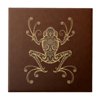 Intricate Brown Tree Frog Small Square Tile