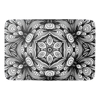 Intricate Classic Floral Pattern Black and White Bath Mat