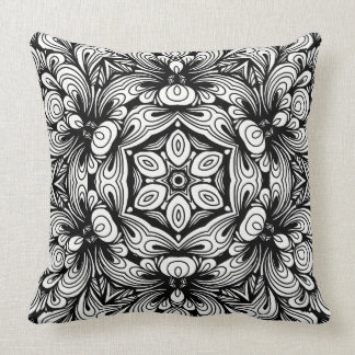 Intricate Classic Floral Pattern Black and White Cushion