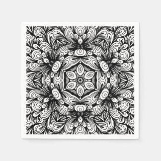 Intricate Classic Floral Pattern Black and White Paper Napkin