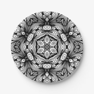 Intricate Classic Floral Pattern Black and White Paper Plate