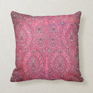 Intricate Curving Organic Vintage Pattern on Pink Throw Pillow