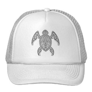 Intricate Dark Sea Turtle Mesh Hat