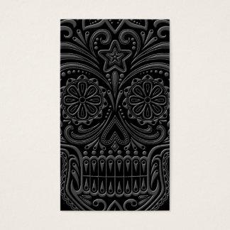 Intricate Dark Sugar Skull Business Card