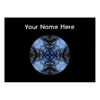 Intricate Decorative design. Black & Blue. Large Business Cards (Pack Of 100)