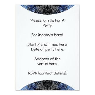Intricate Decorative design. Black & Blue. 17 Cm X 22 Cm Invitation Card