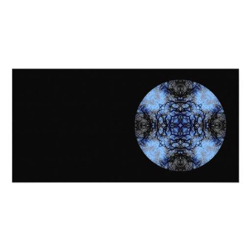 Intricate Decorative design. Black & Blue. Photo Cards